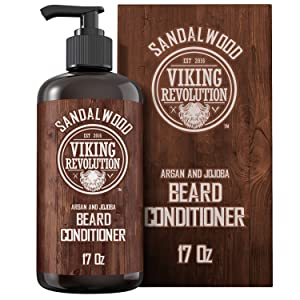 Beard Conditioner w/Argan & Jojoba Oils - Softens & Strengthens - Sandalwood Scent - Beard Conditioner w/Beard Oil (17oz Conditioner)