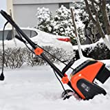 Electric Snow Thrower Amp 16-Inch Corded Snow Blower with Wheels Adjustable handles Snow Shovel