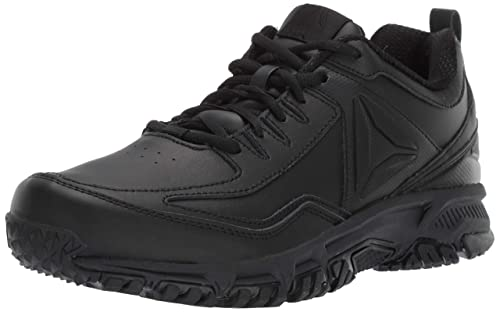 Reebok Mens Ridgerider Leather 4E Sneaker, black/black/black - wide e,