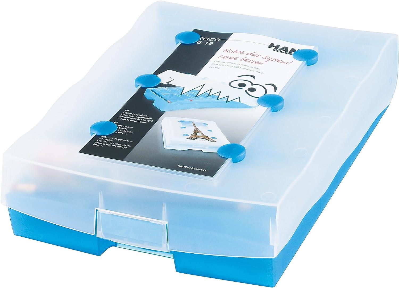Bleu translucide 100 Cartes A8 Croco 2-6-19 HAN Bo/îte de rangement