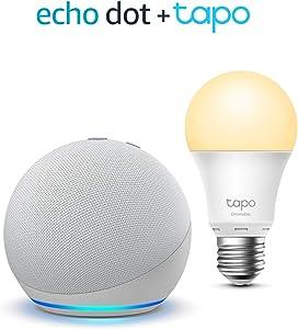 Echo Dot (4ª generazione), Bianco ghiaccio + TP-Link Tapo White Lampadina Connessa (E27), compatibile con Alexa