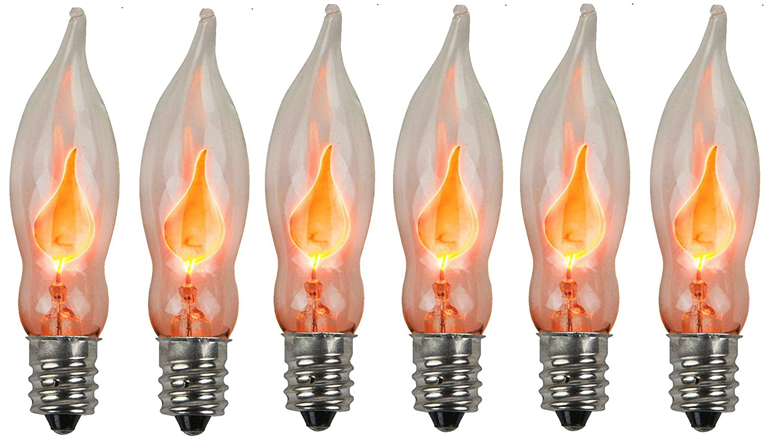Holiday Joy - Flicker Flame Crystal Clear Flame Tip Candelabra Replacement Bulbs - Great for Electric Window Candle Lamps - CA5 - E12-1 Watt - 120 Volts (6 Pack)