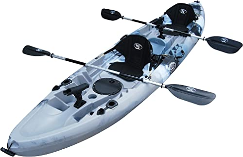 BKC TK219 12.2 Tandem Fishing Kayak W Soft Padded Seats, Paddles,6 Rod Holders Included 2-3 Person Angler Kayak