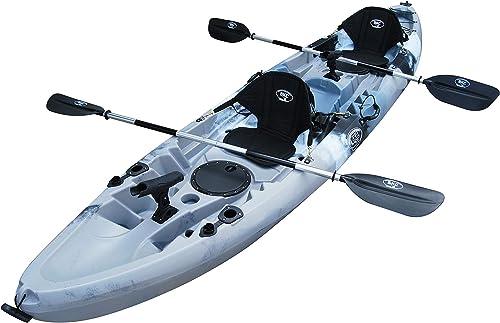 BKC TK219 12.2 Tandem Fishing Kayak W Soft Padded Seats, Paddles,6 Rod Holders Included 2-3 Person Angler Kayak