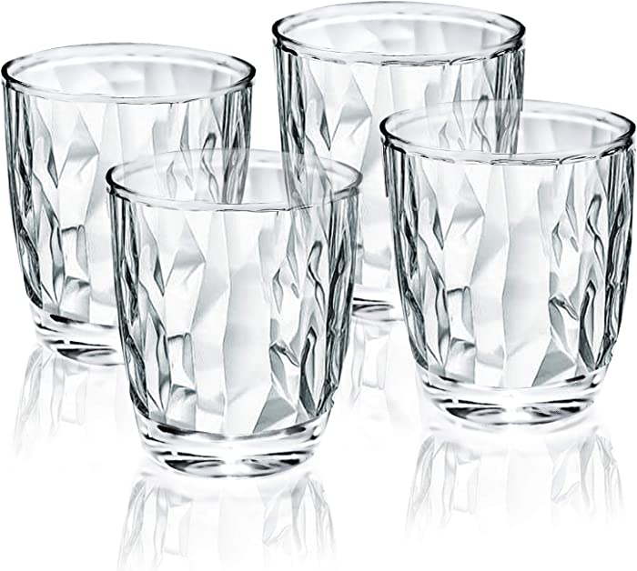 12-ounce Plastic Water Tumblers | Set of 4 Transparent Unbreakable Drinking Glasses Clear Acrylic Reusable Juice Wine Cups for Home Picnic Party, Dishwasher Safe, Stackable