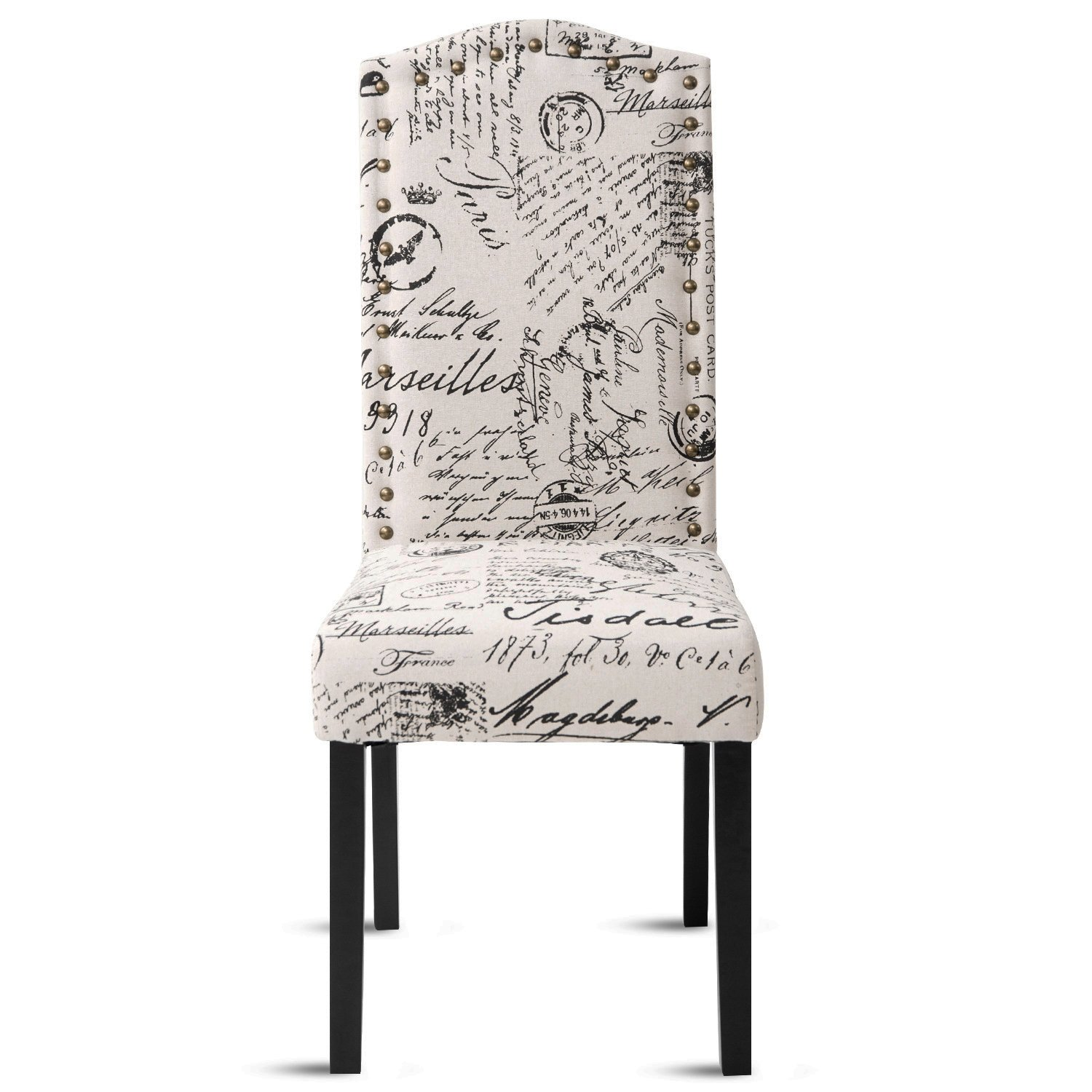 Merax PP036312AAA Dining Script Fabric Accent Chair with Solid Wood Legs, Set of 2 by Merax (Image #3)