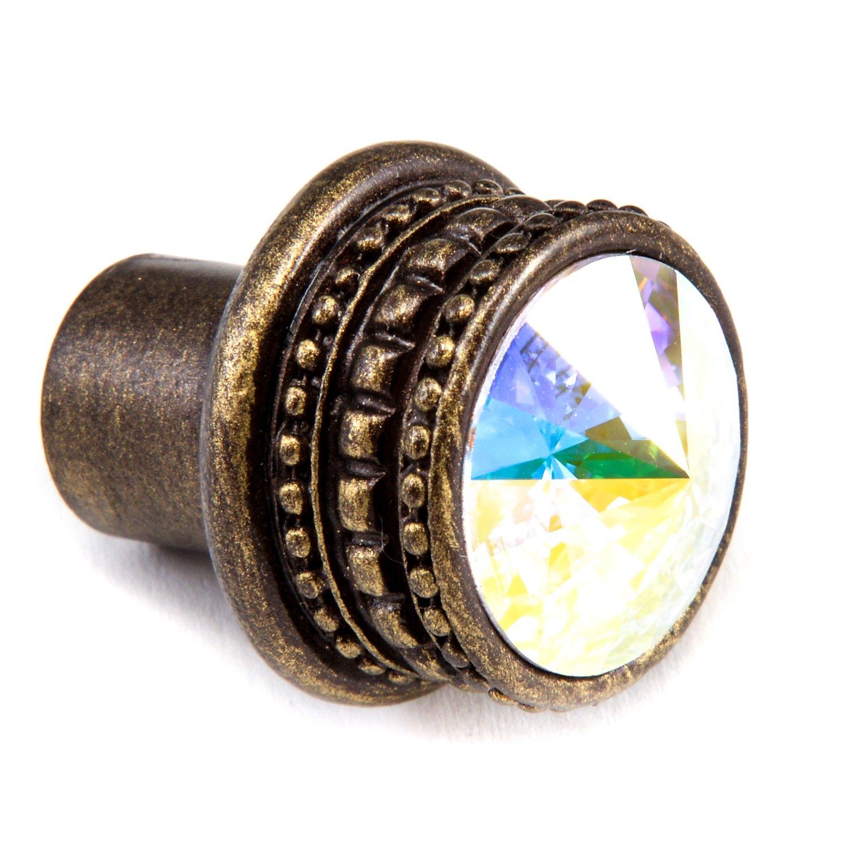 Antique Brass 1-Inch Carpe Diem Hardware 860-3AB Cach/é Knob with Swarovski Crystals