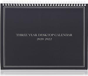 3-Year Desktop Calendar - 2020-2022 (11.2 x 9 in, Black)