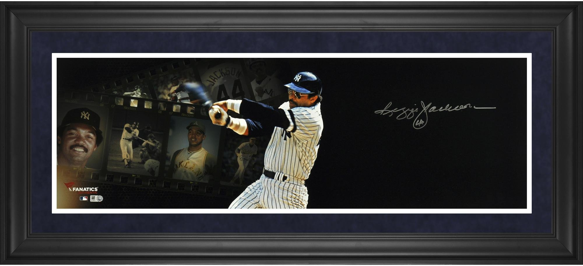 "Reggie Jackson New York Yankees Framed Autographed 10"" x 30"" Filmstrip Photograph Fanatics Authentic Certified"
