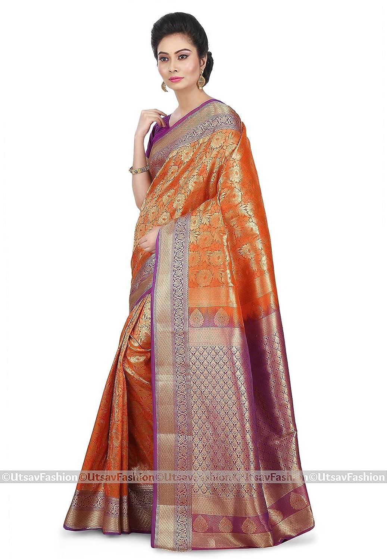 Utsav fashion shopping bag - Utsav Fashion Women S Kanchipuram Saree In Orange Amazon In Clothing Accessories