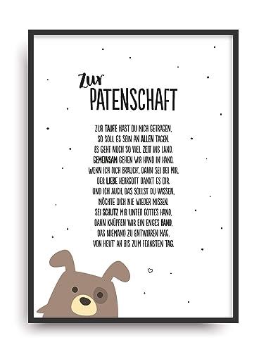Geschenk Karte Patenschaft Kunstdruck Taufe Patenkind Taufpaten Bild Ohne Rahmen Din A4