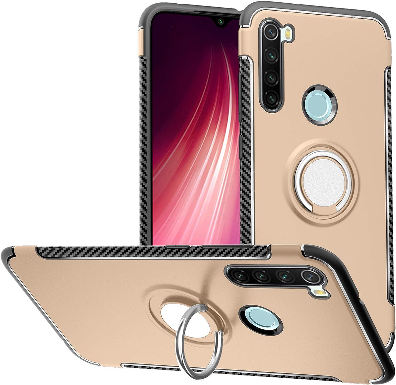 LFDZ Funda Xiaomi Redmi Note 8, 360 Grados Giratorio Ring Grip con Gel TPU Case Carcasa Fundas para Xiaomi Redmi Note 8 Smartphone(Not fit Xiaomi Redmi Note 8 Pro),Gold