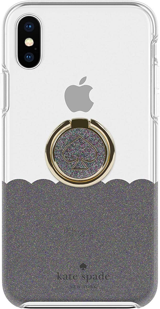 Kate Spade New York Gift Set for iPhone XR - Black Multi Glitter/Clear Scalloped Ring Stand