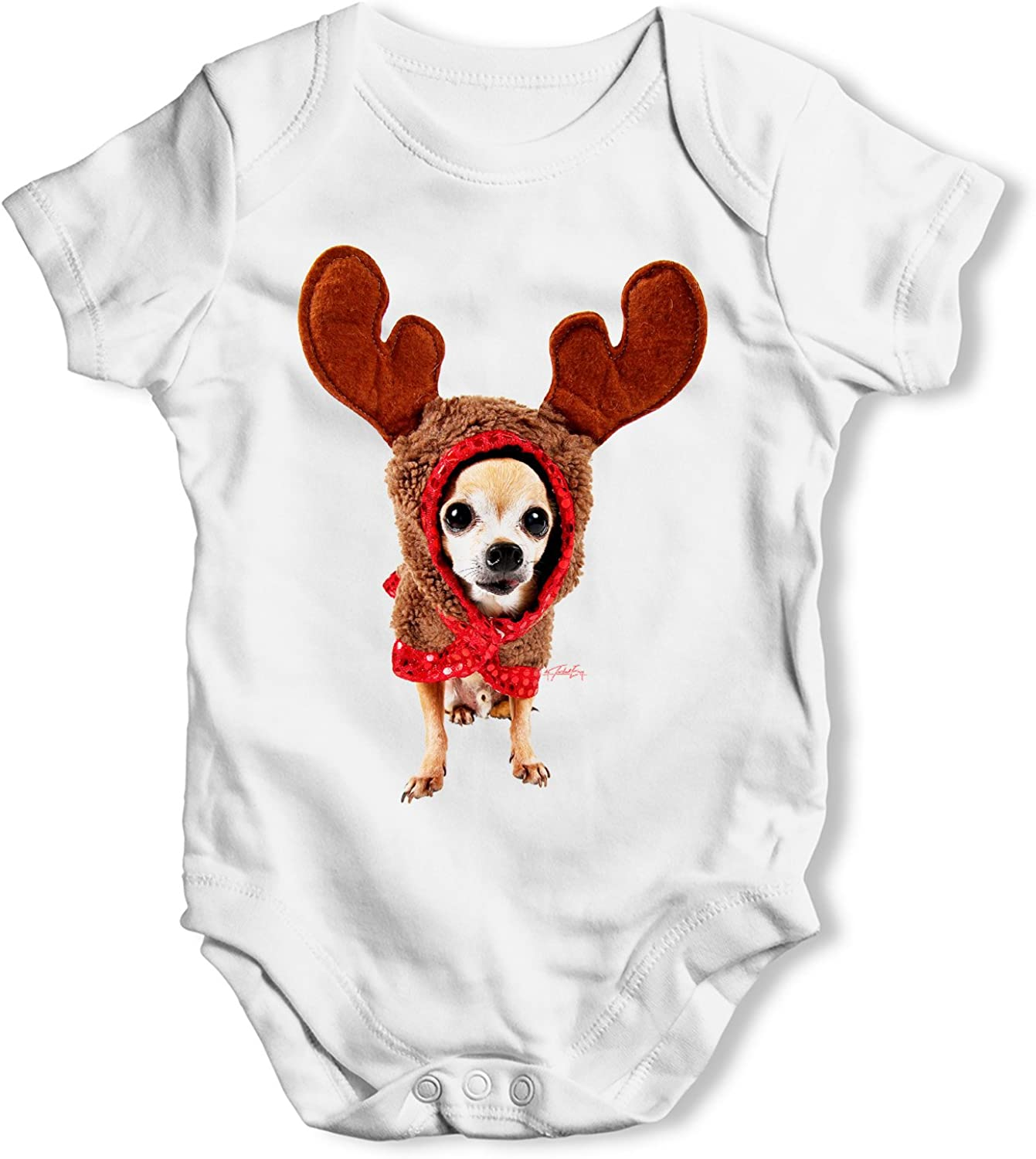Funny Baby Clothes Christmas Reindeer Chihuahua Infant Creeper Bodysuit