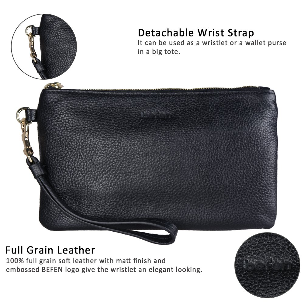 Befen Women Genuine Leather Clutch Wallet, Smartphone Wristlet Purse - Black by befen (Image #4)