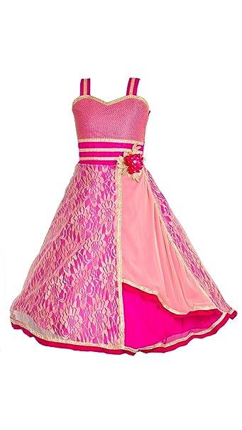 8b0cbd23eb My Lil Princess Girls Velvet Gown Frock (MLP_Pink Velvet New  Gown_22_Pink_4-5 Years)