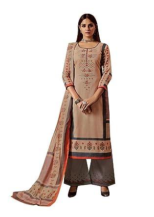24ecaad4b5 Amazon.com: Ladyline Salwar Kameez Cotton Embroidered Printed with Palazzo  Pants Salwar Suit: Clothing