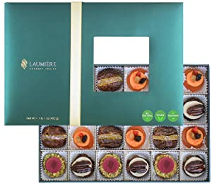 Laumière Gourmet Fruits - Le Cadeau Parfait Collection - Rectangle Box (24 Pcs) - Healthy Gift Box - Holiday Fruits & Nuts - Fathers Day Gift Basket - Gluten Free - Refined Sugar Free - Sympathy