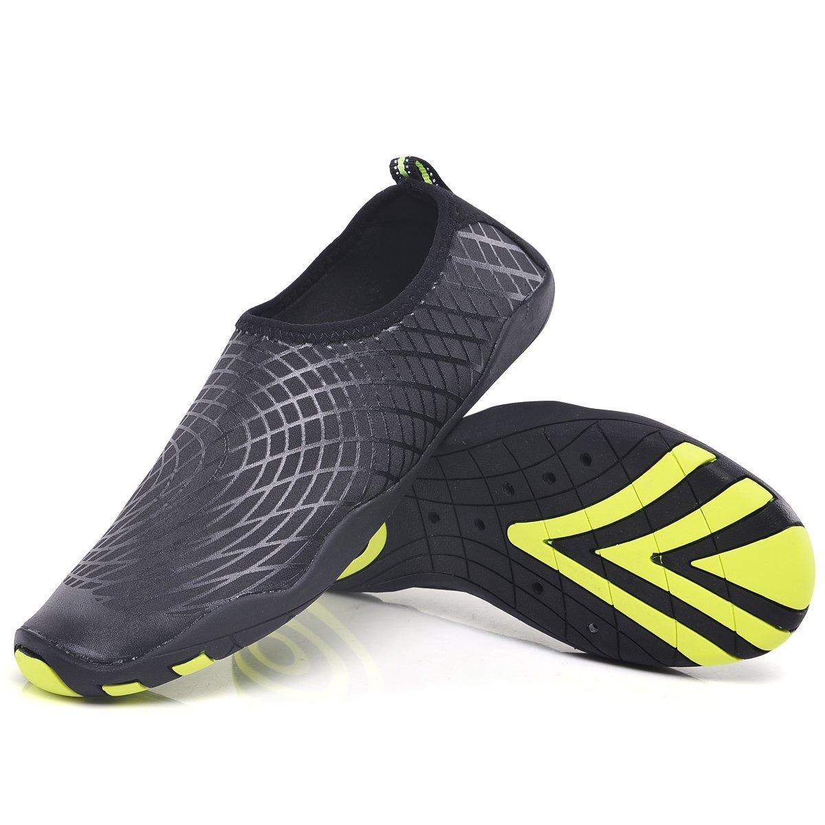 Mens Water Shoes Quick Dry Slip On Beach Swim Shoes Sports Lightweight Aqua Socks Shoe(Black 44)