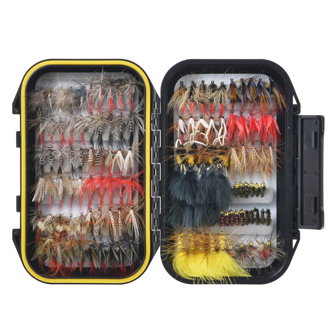 18/36/60pcs Hand-Tied Fly Fishing Lures Waterproof Fly Box Nymphs Mustad Hooks Dry Flies RUNCL Fly Fishing Flies Assortment Streamers Wet Flies Emergers