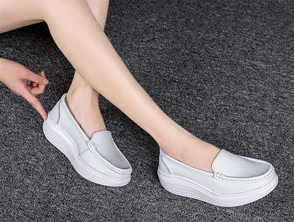 Platform Toning Rocker Shoes Womens Tennis Sneakers Wedges Thick Sole for Walking