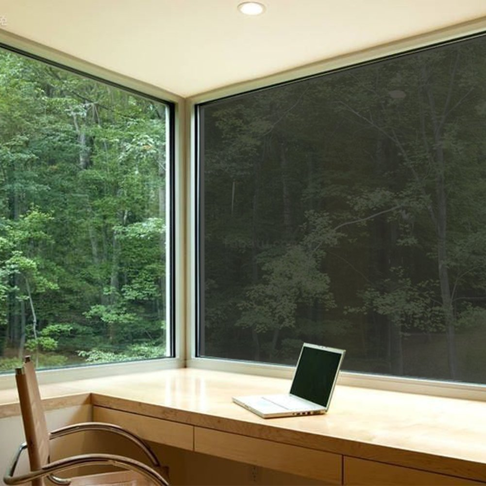 ColorfulHall Heat Control Window Film Adhesive Sun Solar Tinting Film, Black,35-Inch by 6-1/2-Feet