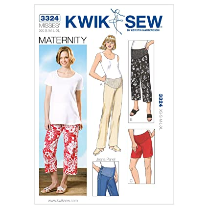 9044a1de8e3d8 Kwik Sew K3324 Maternity Pants Sewing Pattern, Shorts and Jeans Panel:  Amazon.ca: Home & Kitchen