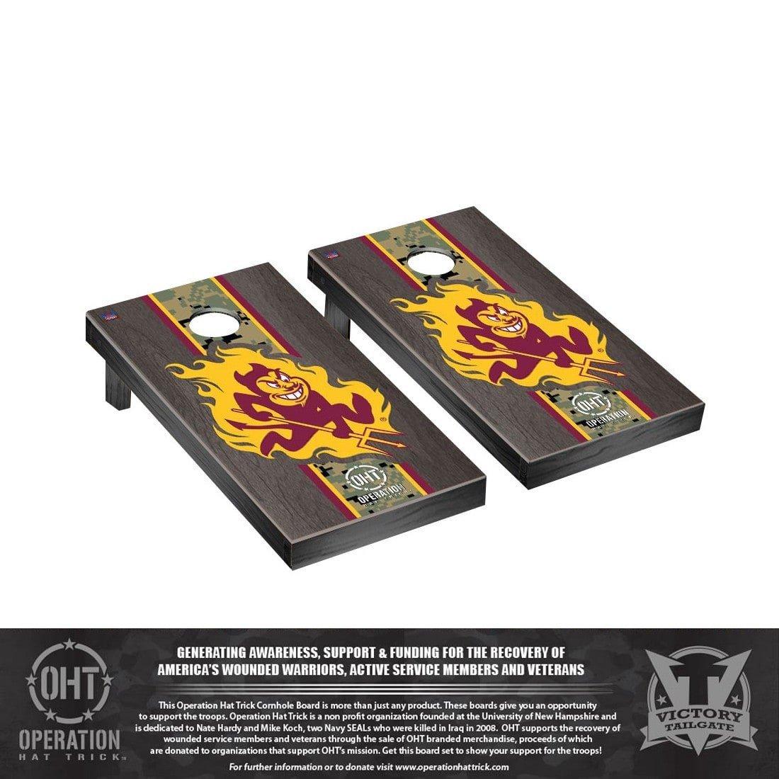 Victory Tailgate Operation Hat Trick Arizona State ASU Sun Devils Regulation Cornhole Game Set Onyx Stained Stripe Version