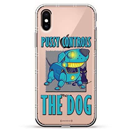 Pussy Controls The Dog | Luxendary Air Series Clear Silicone Case with 3D Printed Design and Air-Pocket Cushion Bumper for iPhone X/Xs