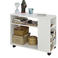 SoBuy FBT34-W Bout de Canapé Table Café roulante avec 2 étagères de Rangement, 2 Niveaux Bibliothèque à roulettes