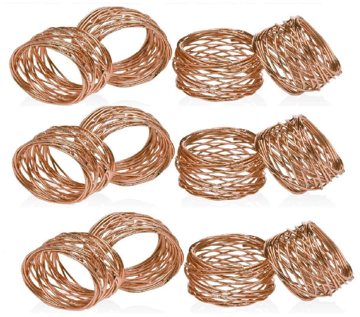 4, Copper ARTS HUB Round Mesh Napkin Rings Artisan Crafted in India