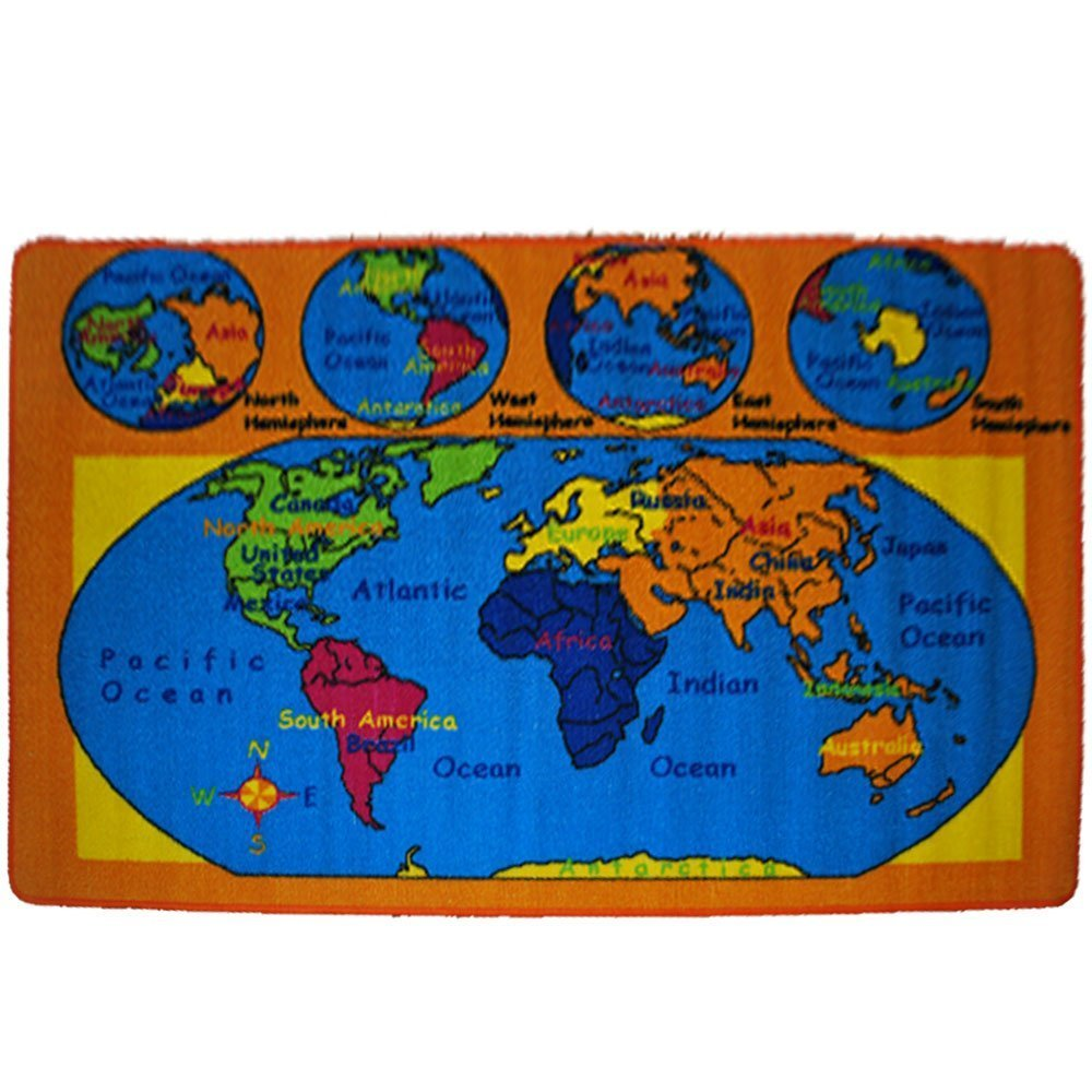 Amazon kids rug world map area rug 5 x 7 children area rug amazon kids rug world map area rug 5 x 7 children area rug for playroom nursery non skid gel backing 59 x 82 kitchen dining gumiabroncs Image collections