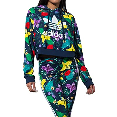 adidas Originals Blossom of Life Floral Cropped Hoodie Sweatshirt-MULTCO_L: Sports & Outdoors