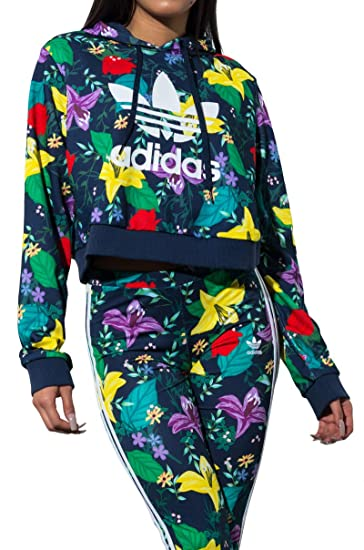 outlet on sale sleek discount sale adidas Originals Blossom of Life Floral Cropped Hoodie ...