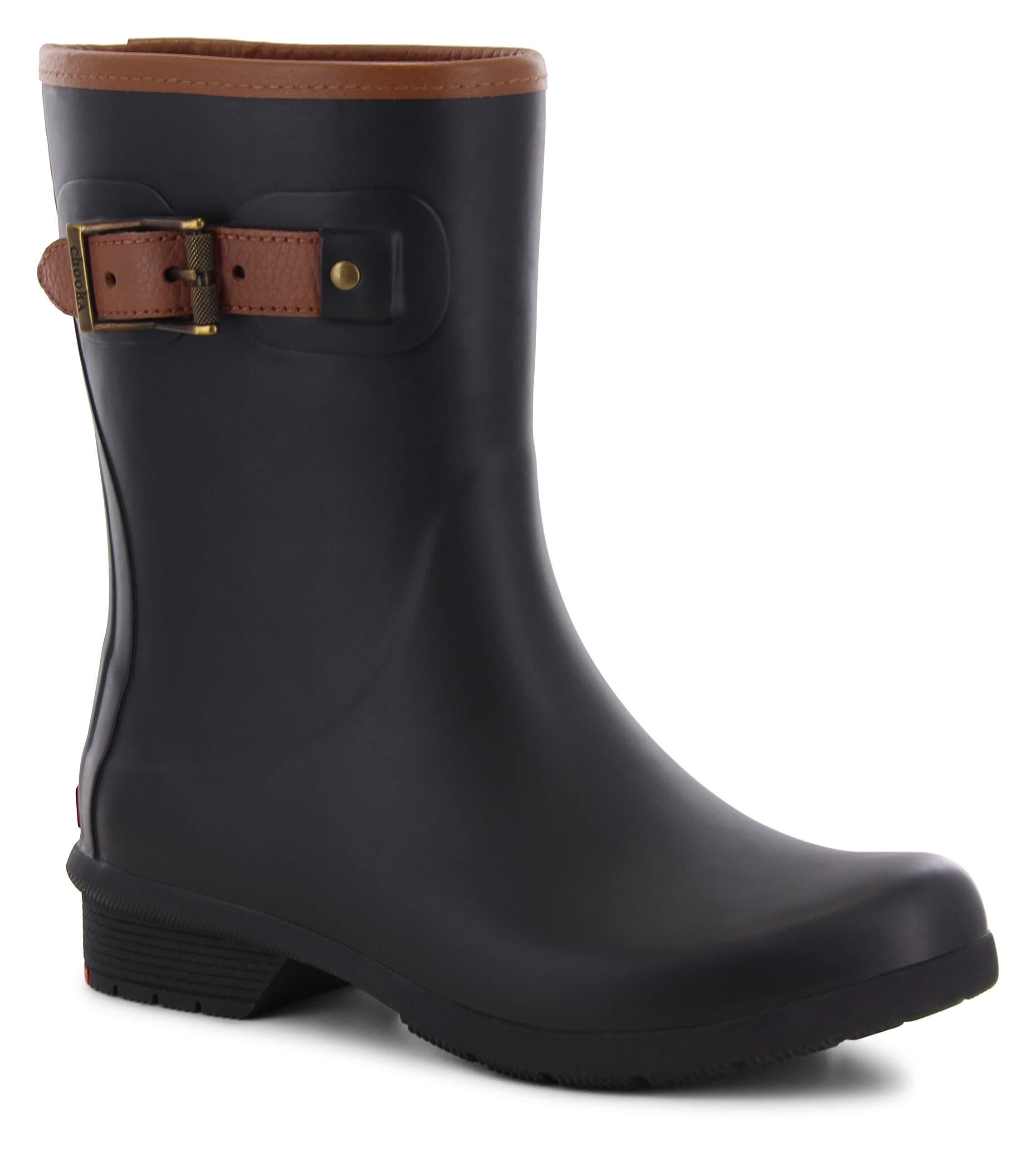 Chooka Women's Mid-Height Memory Foam Rain Boot, Black, 8 M US by Chooka
