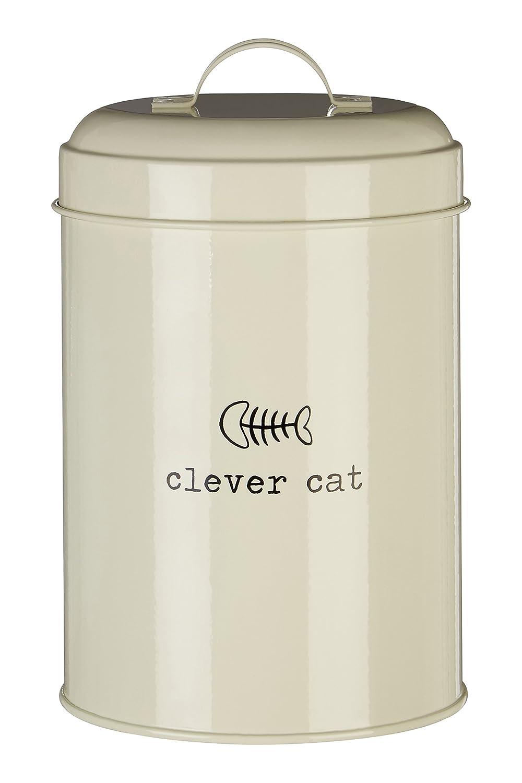 Premier Housewares Boîte de rangement pour nourriture Adore Pets avec mention Clever Cat - Couleur: naturel - 1,2litres, Métal, naturel, 1.2 Litre 0507520 0507520_Cream