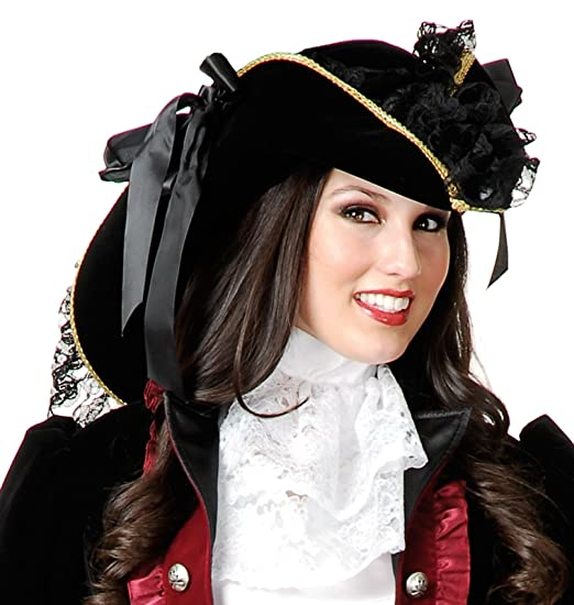 Women's Black Velvet Pirate Hat Trimmed with Gold Braid and Accented with Black Lace and Two Black Satin Ribbon Bows by Charades