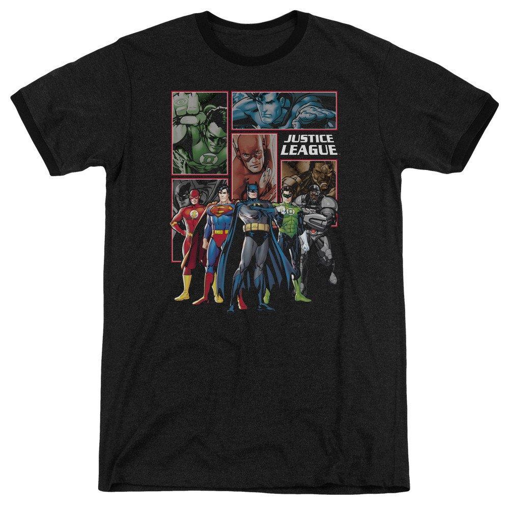 Shirt M Sons of Gotham JLA New JLA Panels Adult Ringer T