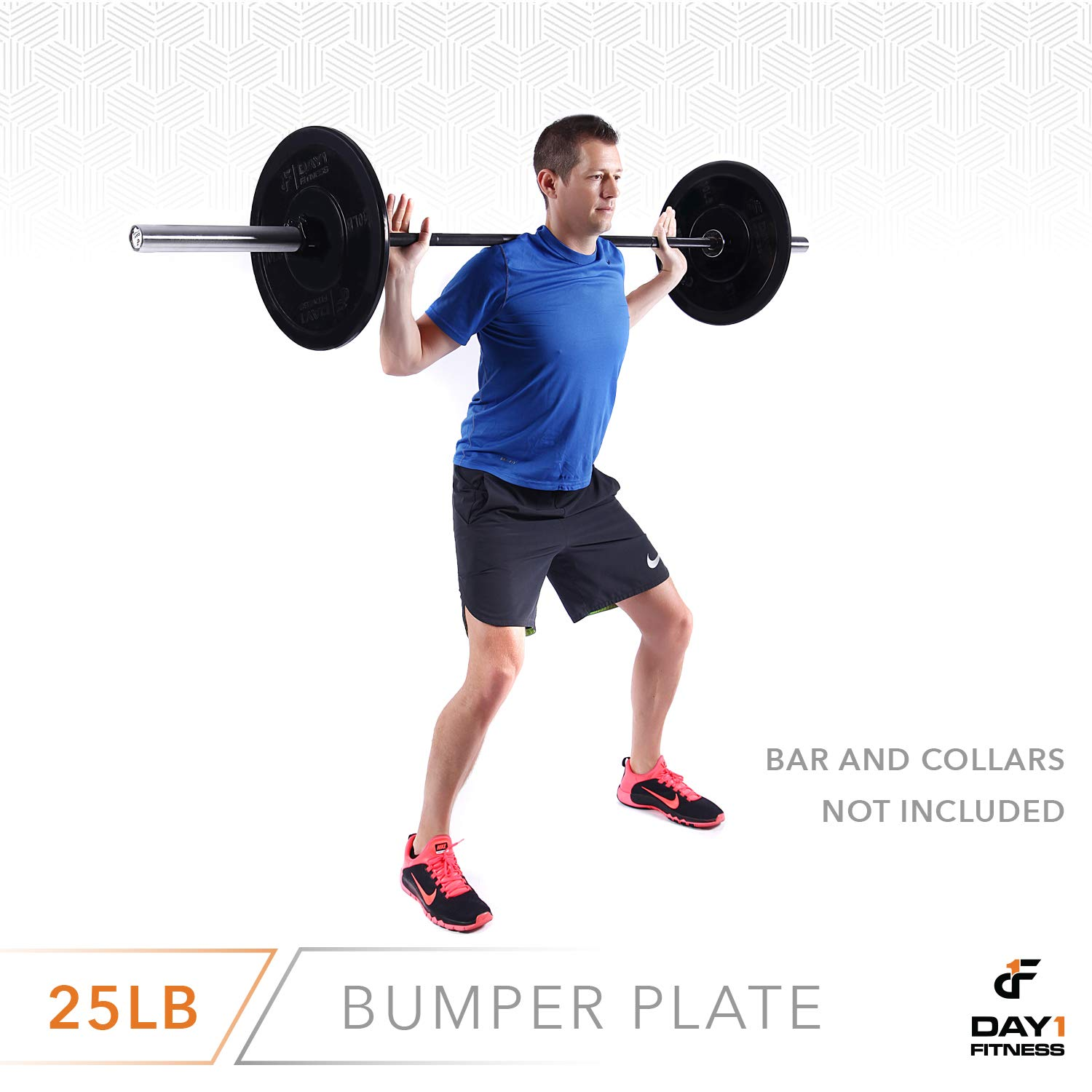 "Day 1 Fitness Olympic Bumper Weighted Plate 2"" for Barbells, Bars – 25 lb Single Plate - Shock-Absorbing, Minimal Bounce Steel Weights with Bumpers for Lifting, Strength Training, and Working Out by Day 1 Fitness (Image #8)"