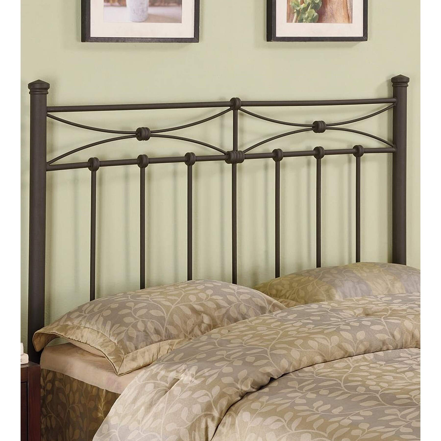 Duxbury Slatted Full/Queen Metal Headboard Brown Modern Contemporary Traditional Bronze Finish by Unknown