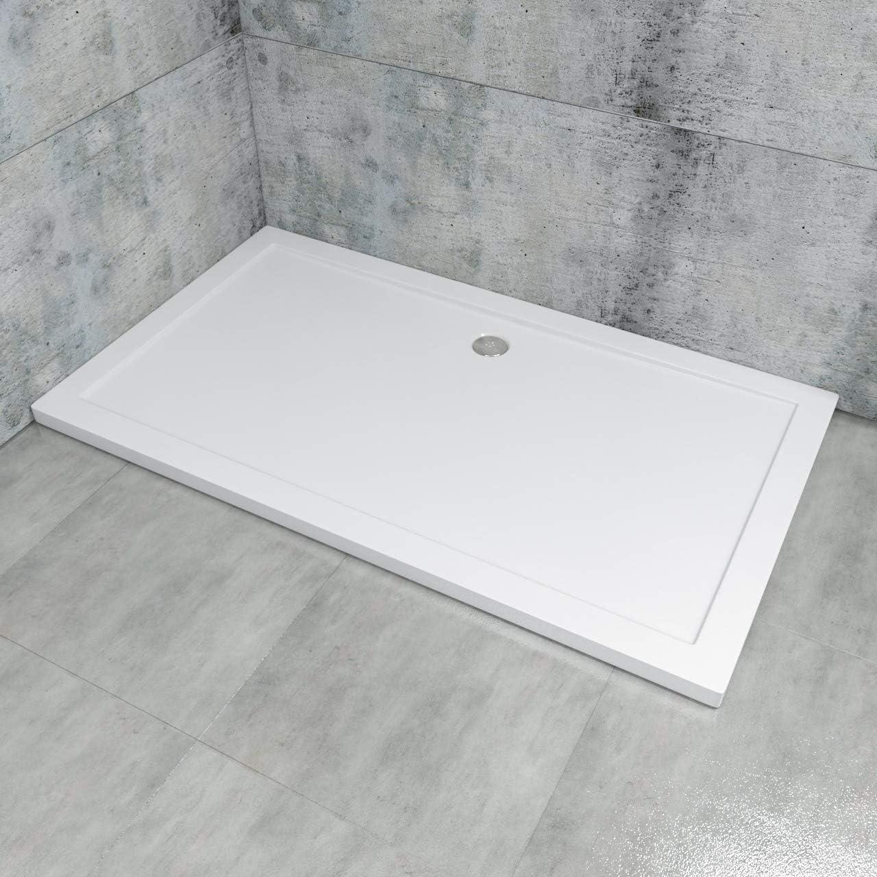 Plato de ducha rectangular, extra plano de acrílico en color blanco, rectangular, conexiones DIN para montaje a nivel del suelo, incluye desagüe, LDZ0102: Amazon.es: Bricolaje y herramientas
