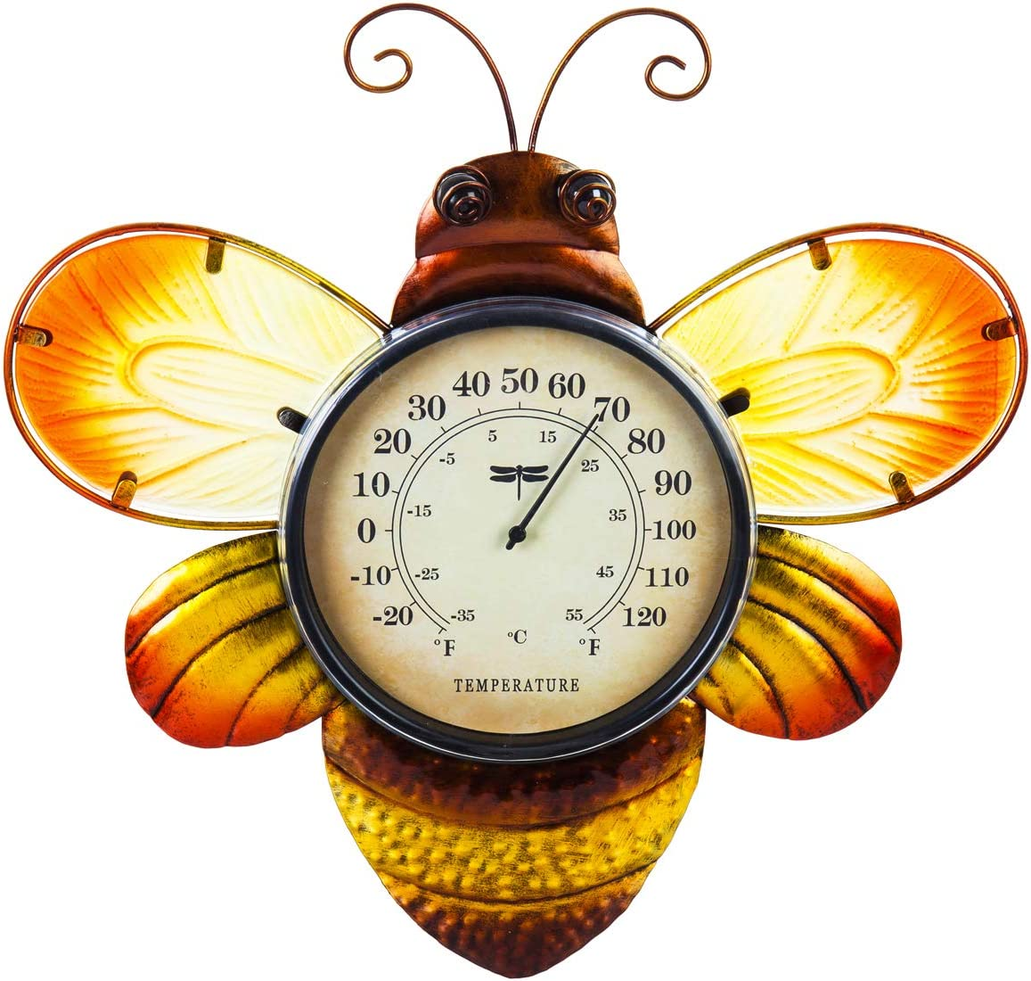 Evergreen Garden Beautiful Summer Bumble Bee Outdoor Wall Thermometer - 14 x 1 x 15 Inches Fade and Weather Resistant Outdoor Decoration for Homes, Yards and Gardens