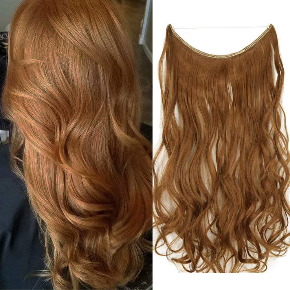 """iLUU 18"""" Halo Hair Extensions Strawberry Blonde Hair Color #27A Invisible Halo Wire Hair Extensions One Piece Headband Heat Resistent Fiber Invisible Wire Hair Extensions for Party Gift 80G/Set"""