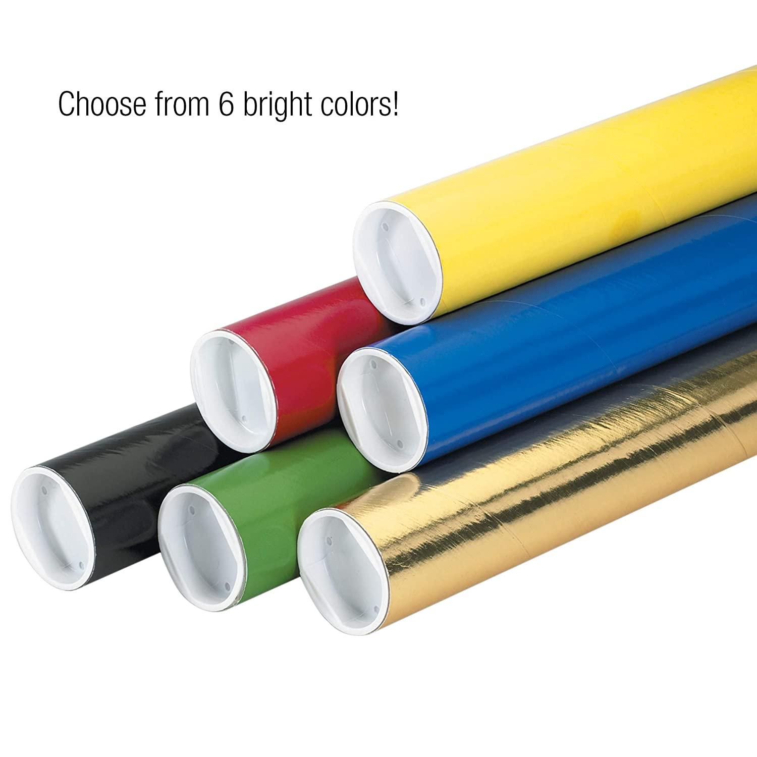 BOX USA BP2009Y Mailing Tubes with Caps Yellow 2 x 9 Pack of 50