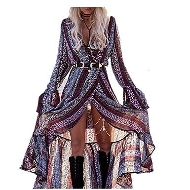 0dc7672a4c5212 Sweetwill Boho Maxikleid Blumen Lange Sommerkleider Damen Maxi Strandkleid  Casual Langarm V-Ausschnitt Kleid für