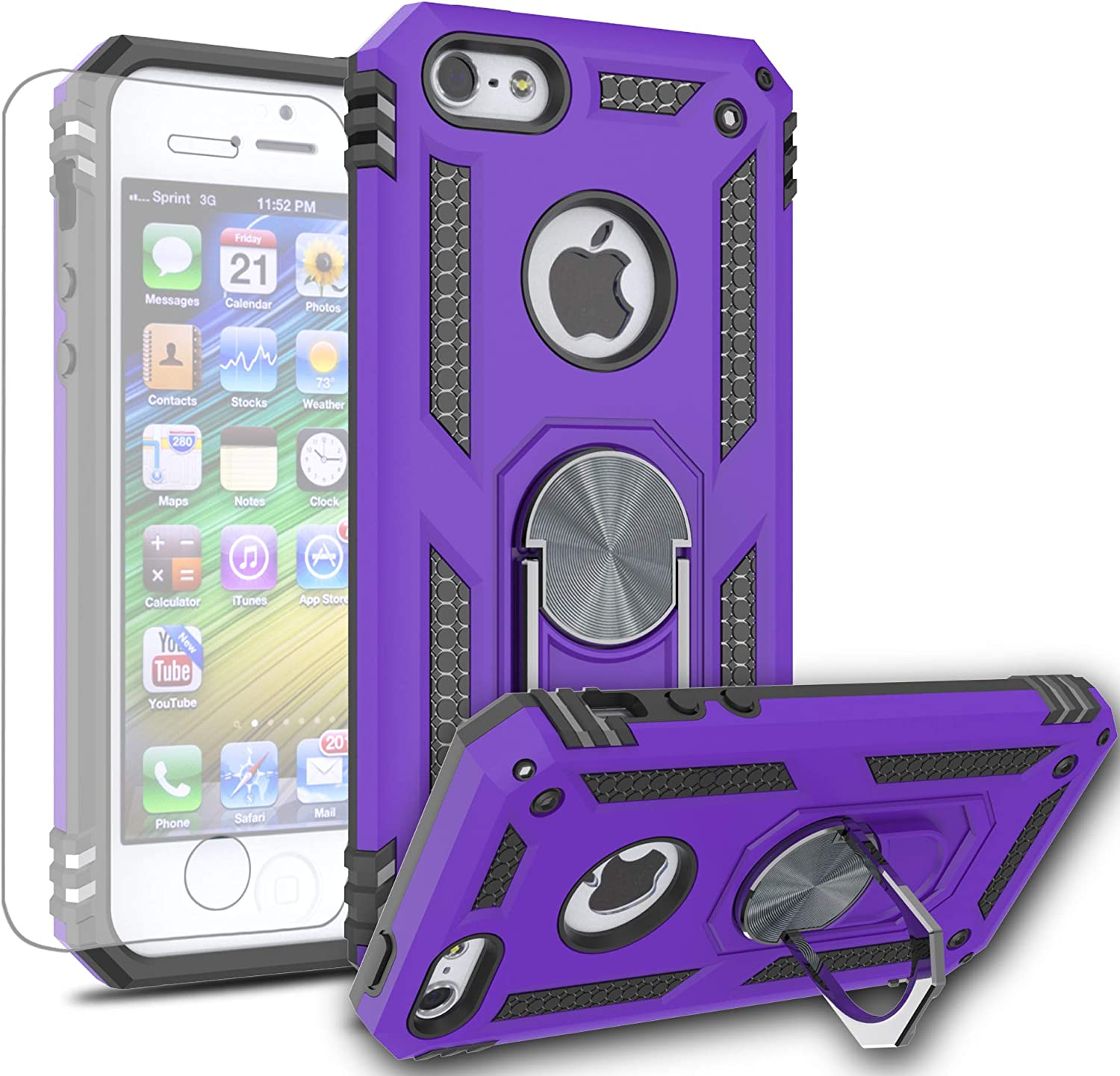 AYMECL iPhone 5 Case,iPhone 5S/iPhone SE Case with HD Screen Protector,[Military Grade] 360 Degree Magnetic Support Metal Ring Armor Shockproof Cover for Apple iPhone SE/iPhone 5S/iPhone 5-ST Purple