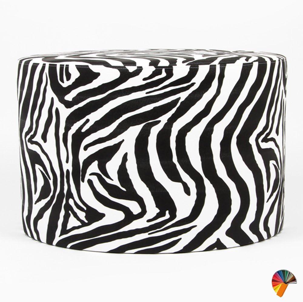 Arketicom Animalier Pouf Poggiapiedi Puff Rotondo Ecopelle Zebra Bianco 35x35 cm