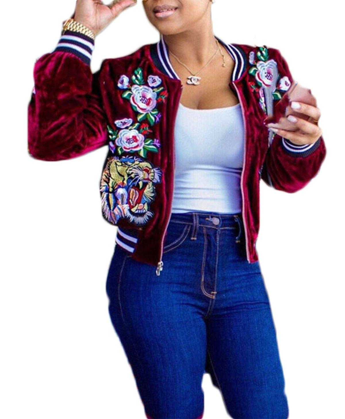 Lovaru Women's Fashion Velvet Rose Embroidery Biker Patchwork Baseball Bomber Jacket (XX-Large, Red)