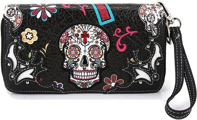 Coin Purse Black Sugar Skulls wallet change Purse with Zipper Wallet Coin Pouch Mini Size Cash Phone Holder