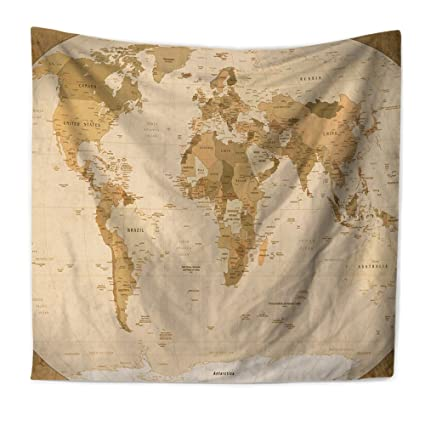 Amazon.com: Econie World Map Bohemian Tapestry, Wall Hanging ...